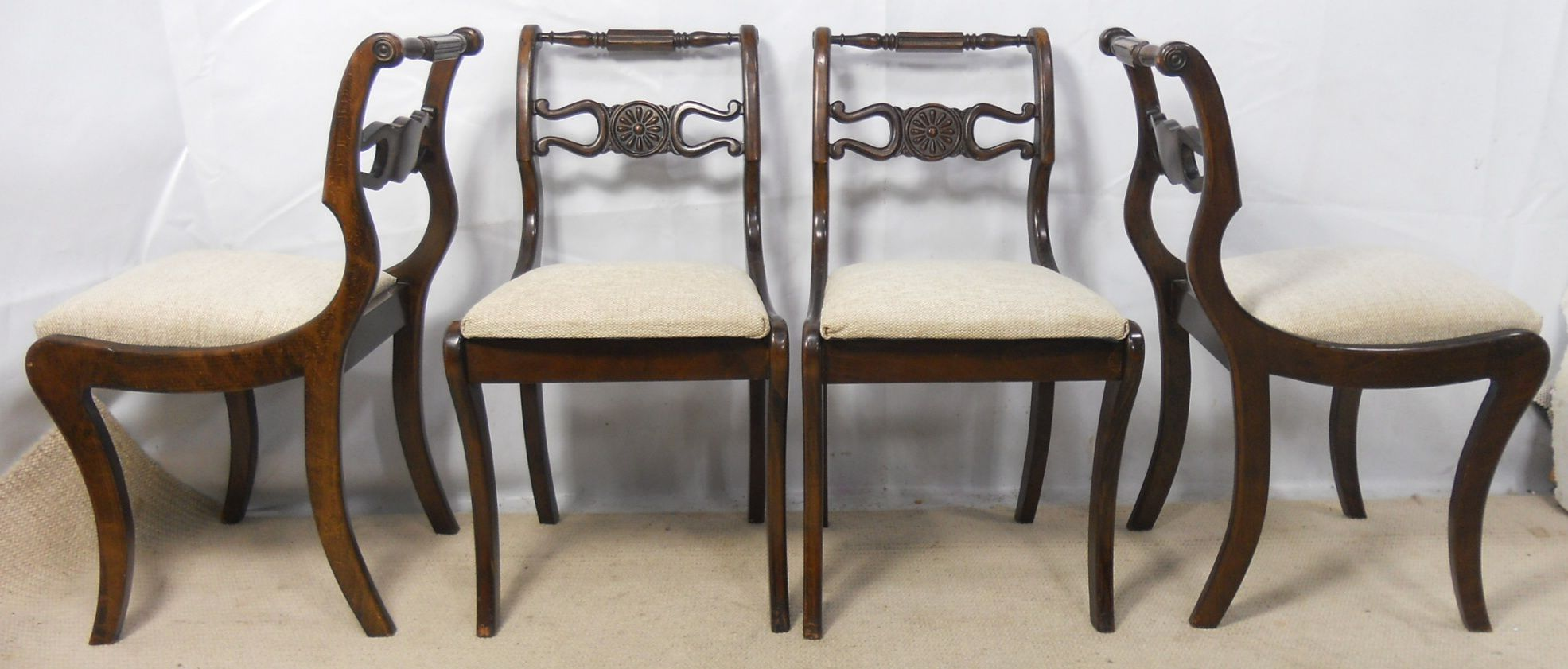 Set Of Six Dark Wood Regency Style Dining Chairs