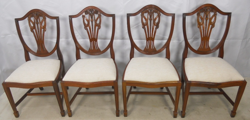Set Of Six Georgian Style Sheild Back Yew Dining Chairs