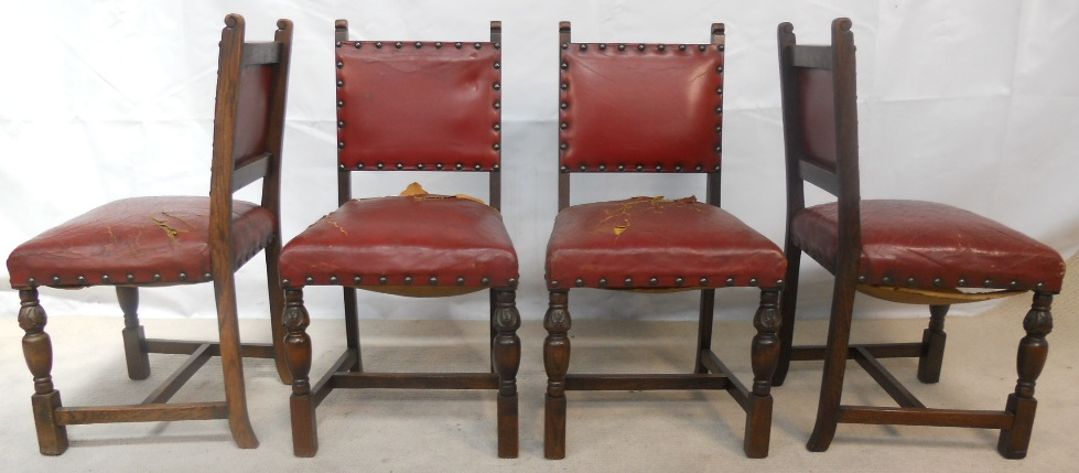 Set of six oak frame leather studded dining chairs sold for Studded dining room chairs