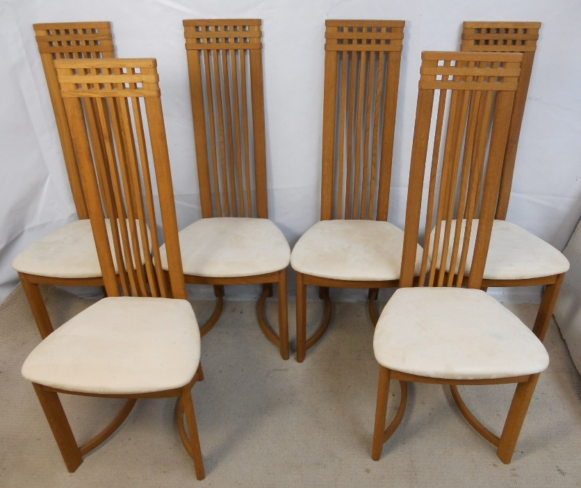 Set Of Six Oak Highback Modern Style Danish Retro Dining Chairs SOLD