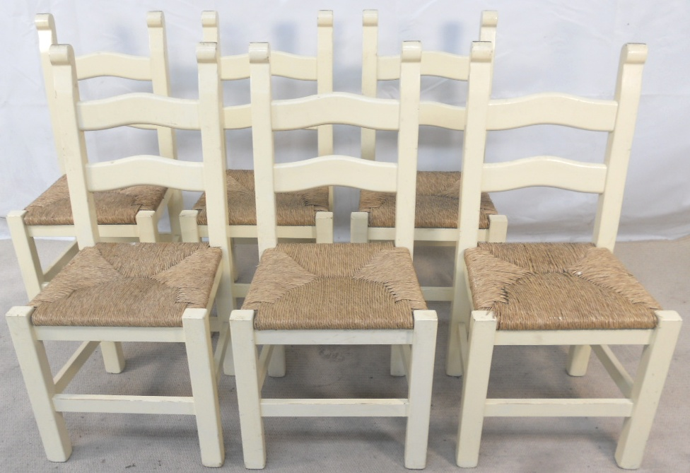 of six painted wood ladderback rush seat kitchen dining chairs sold