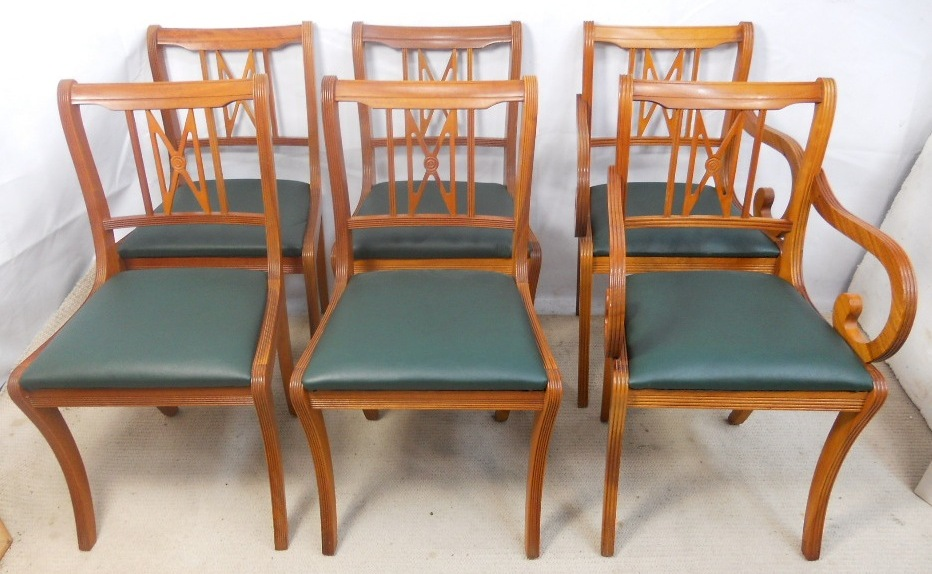 yew dining room furniture | Set of Six Yew Dining Chairs by Beresford & Hicks