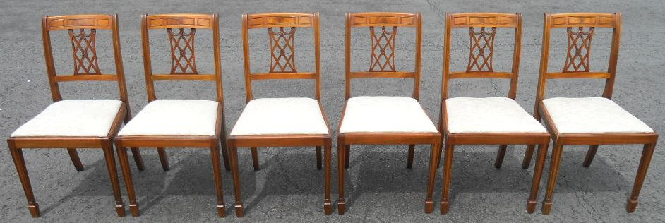 Set Of Six Yew Wood Dining Chairs By Shaw Of London SOLD