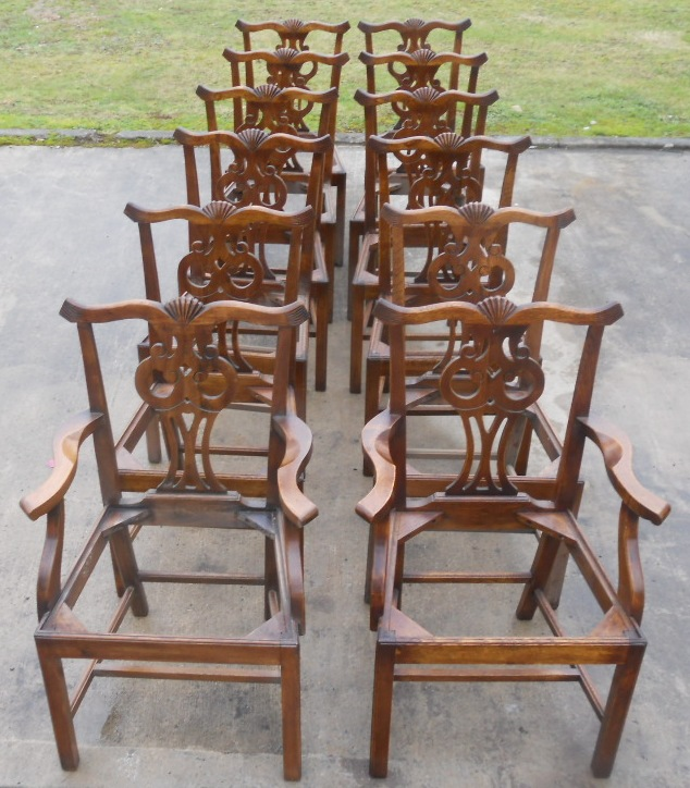 Set Of Twelve Antique Chippendale Style Oak Dining Chairs SOLD