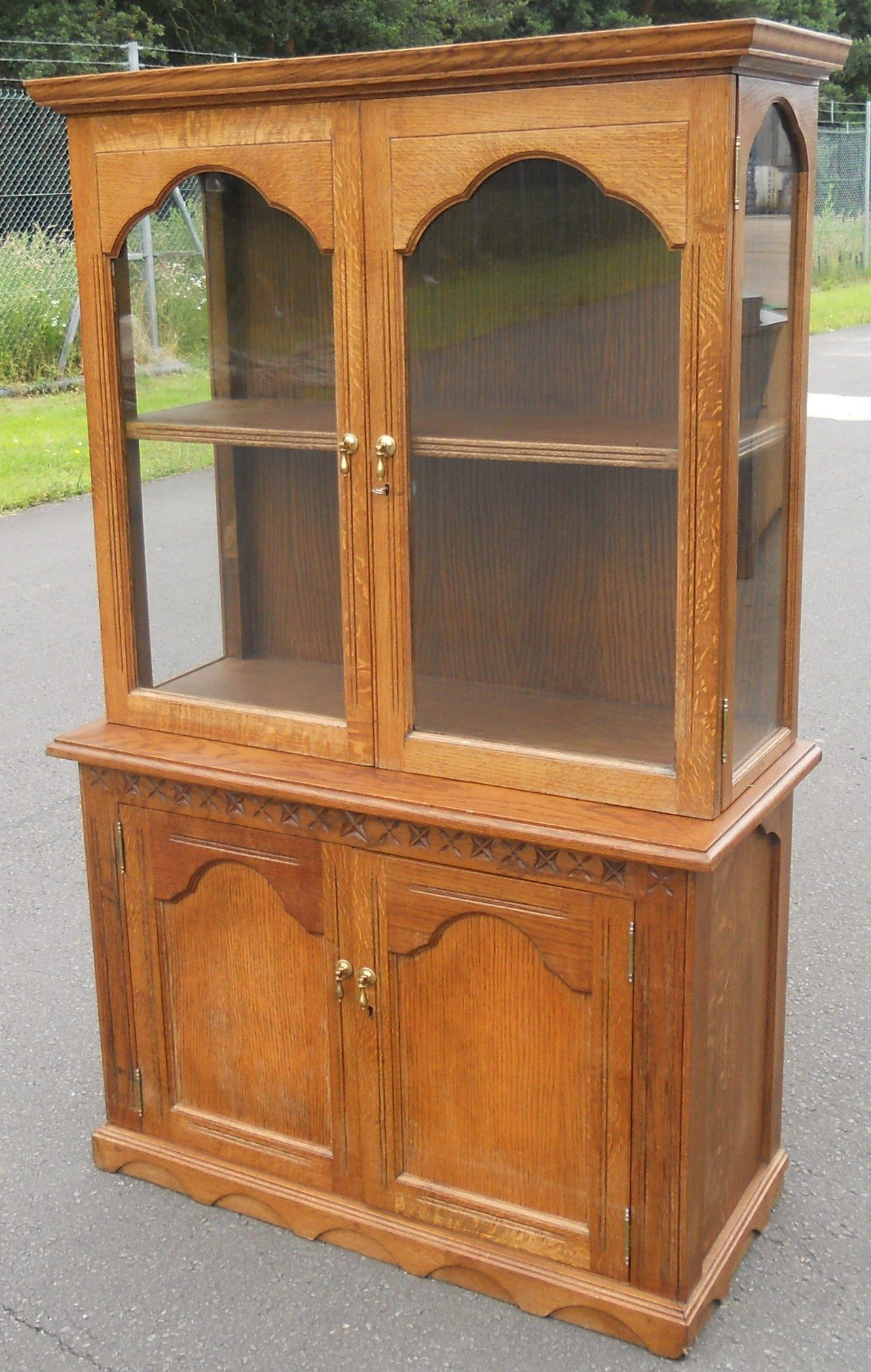 Small Antique Style Oak Display Cabinet