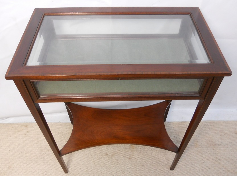 Small inlaid mahogany display table cabinet sold for Html display table