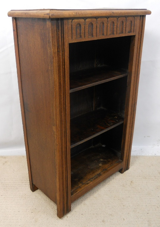 Small Oak Open Bookcase In Antique Style Sold