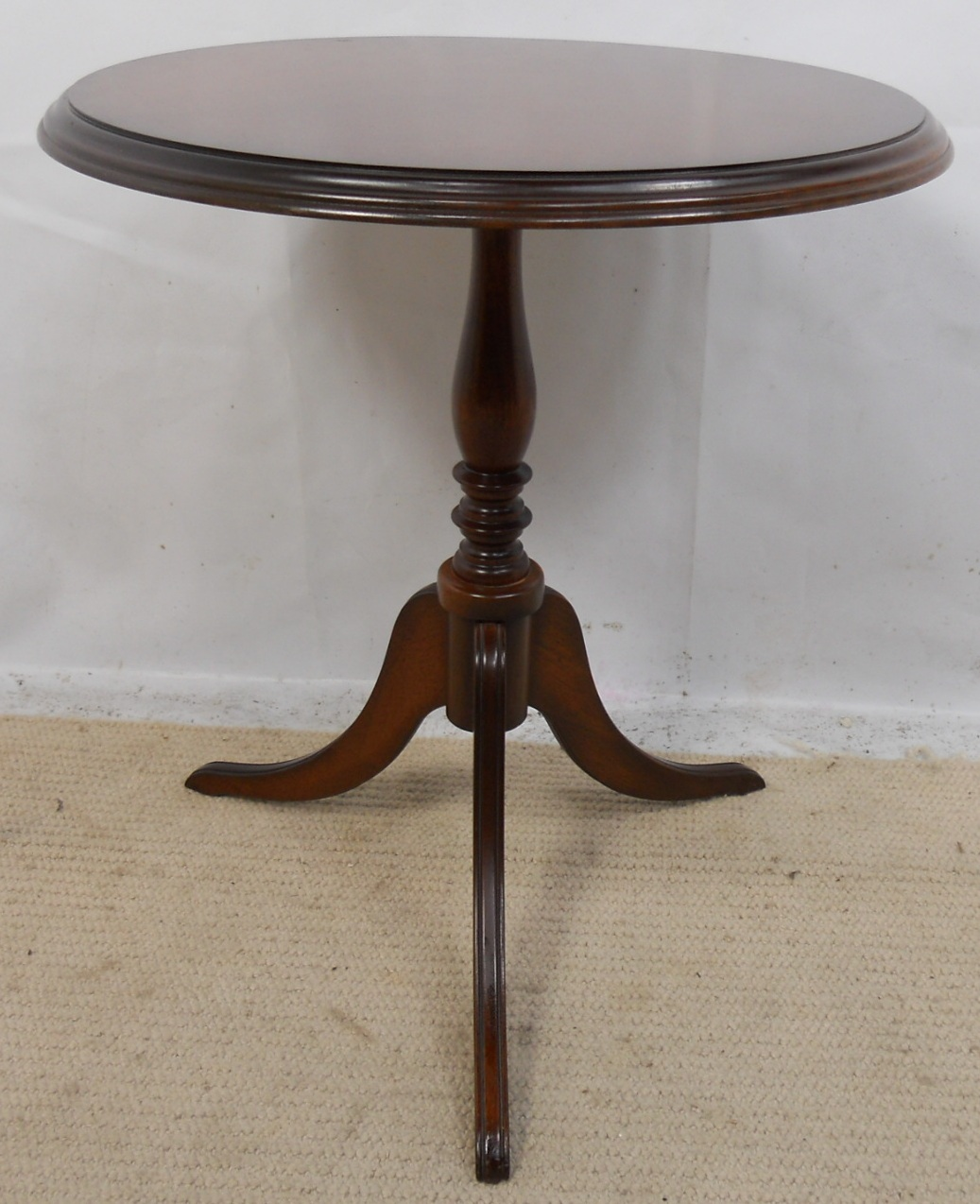 Small round solid mahogany pedestal wine table sold for Pedestal table