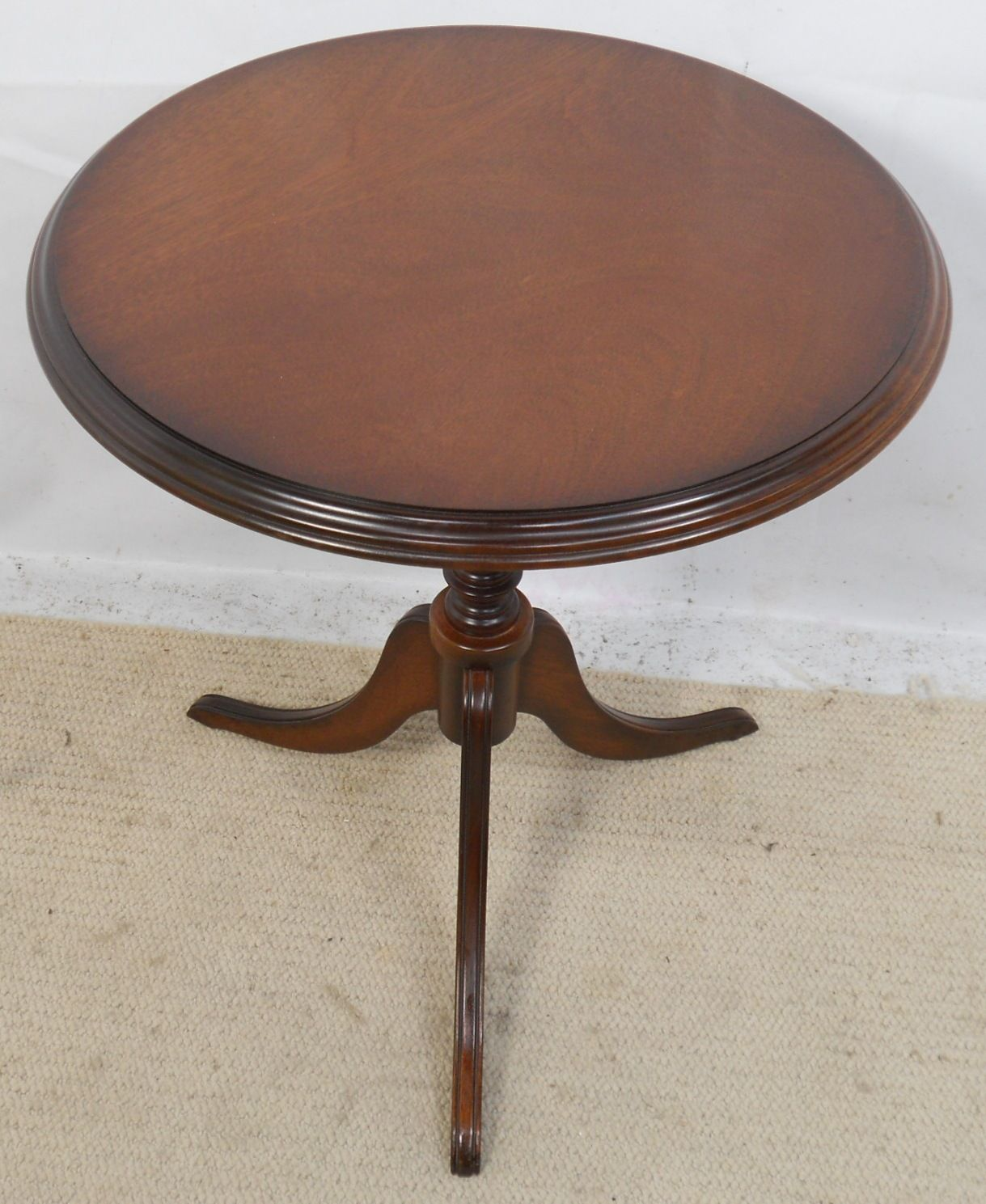 Small Round Solid Mahogany Pedestal Wine Table Sold