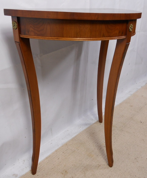 Small yew wood bow front console table sold for Yew sofa table