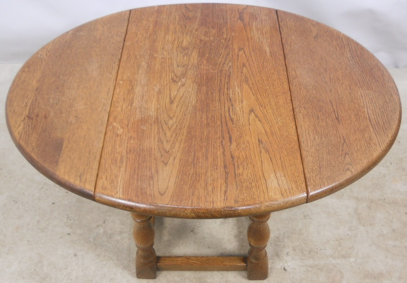 Sold Antique Jacobean Style Light Oak Oval Dropleaf Coffee Table