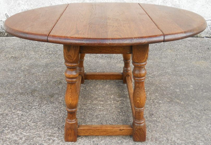 Sold Antique Jacobean Style Light Oak Wood Oval Dropleaf Coffee Table