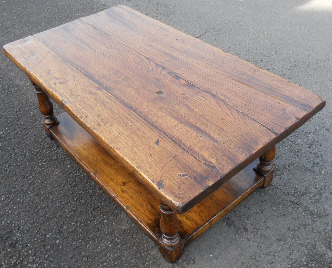 Sold Heavy Large Oak Antique Style Coffee Table