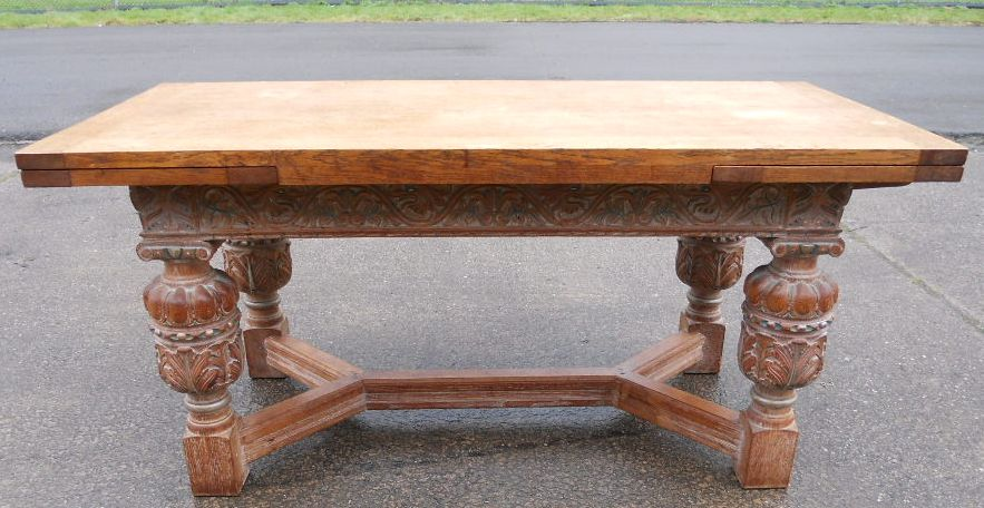 SOLD Large Carved Light Oak Extending Dining Table to  : sold large carved light oak extending dining table to seat eight 2801 p from www.harrisonantiquefurniture.co.uk size 883 x 456 jpeg 138kB