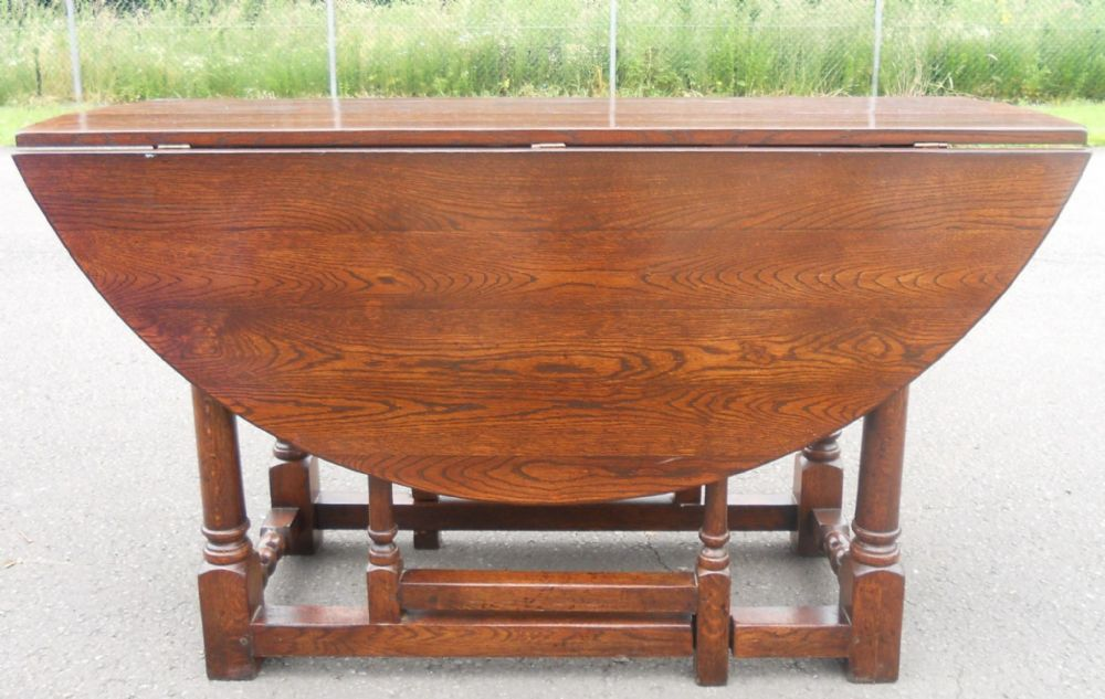 Sold large oval oak gateleg dining table to seat six people - Round gateleg dining table ...