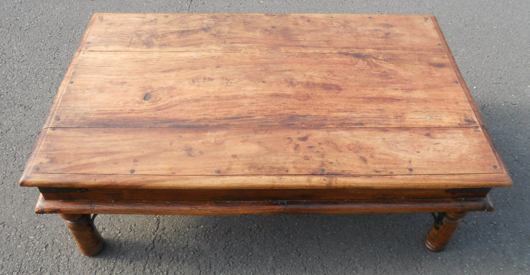 Sold large rustic wooden coffee table for Large wooden coffee tables
