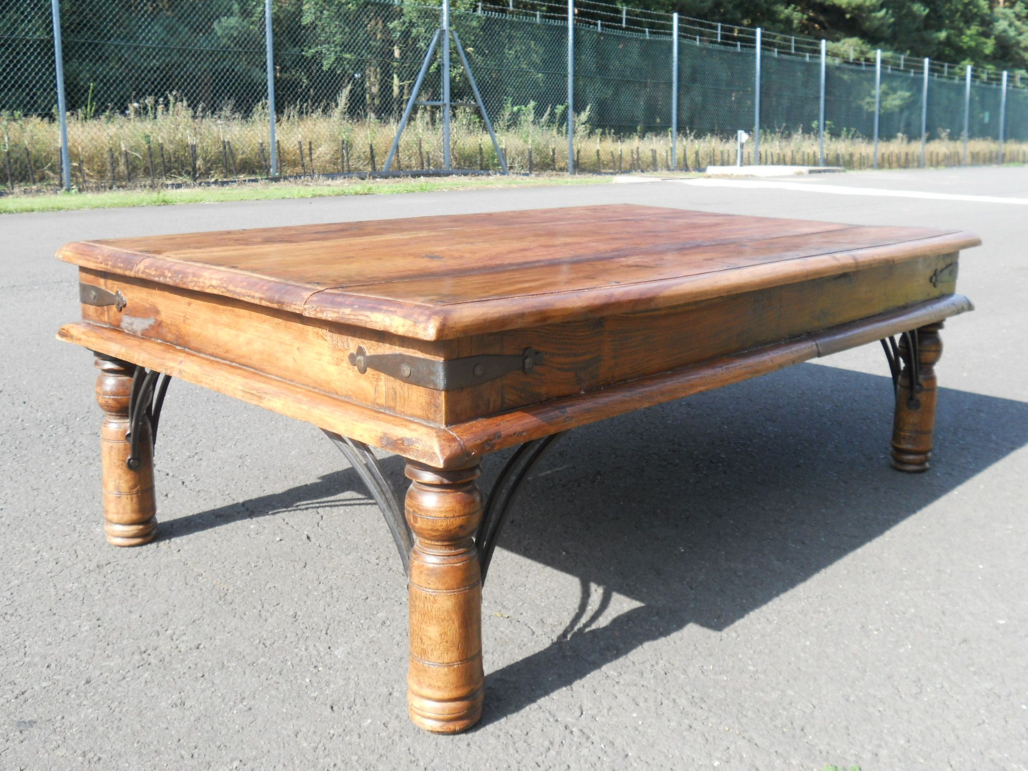 Sold large rustic wooden coffee table for Rustic oversized coffee table