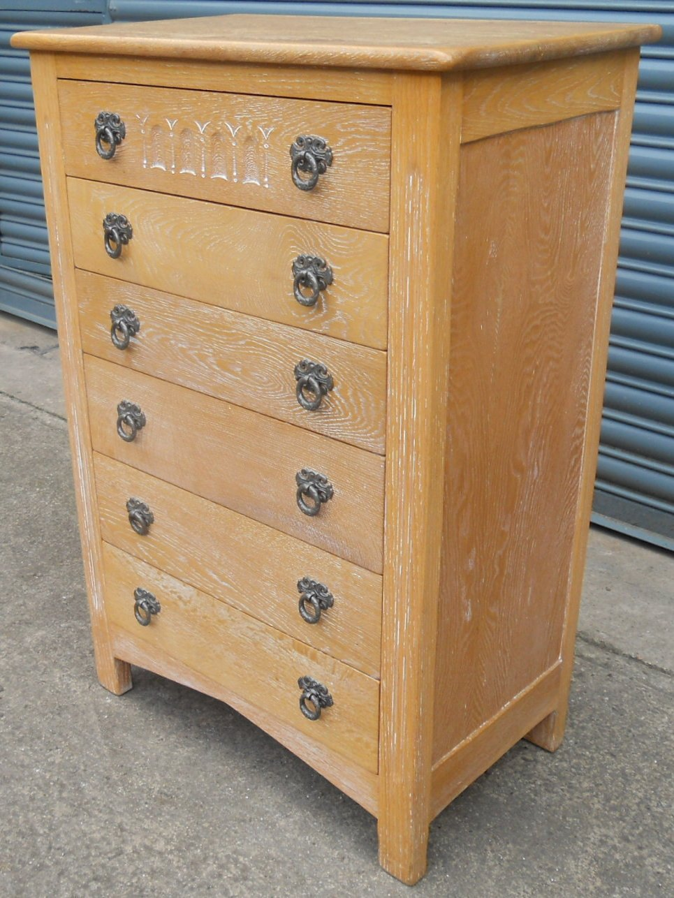 Sold Limed Oak Tall Narrow Chest Of Drawers