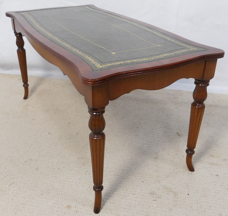Sold Long Leather Glass Top Mahogany Coffee Table