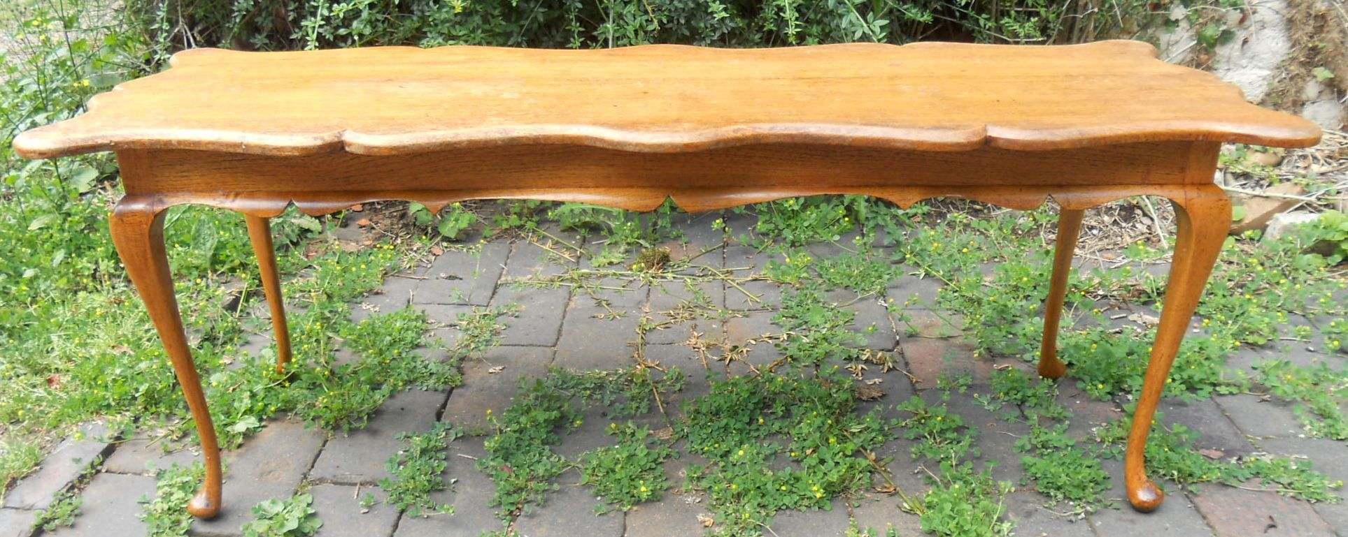 Wonderful image of SOLD Long Oak Shaped Top Coffee Table with #713F19 color and 1927x769 pixels