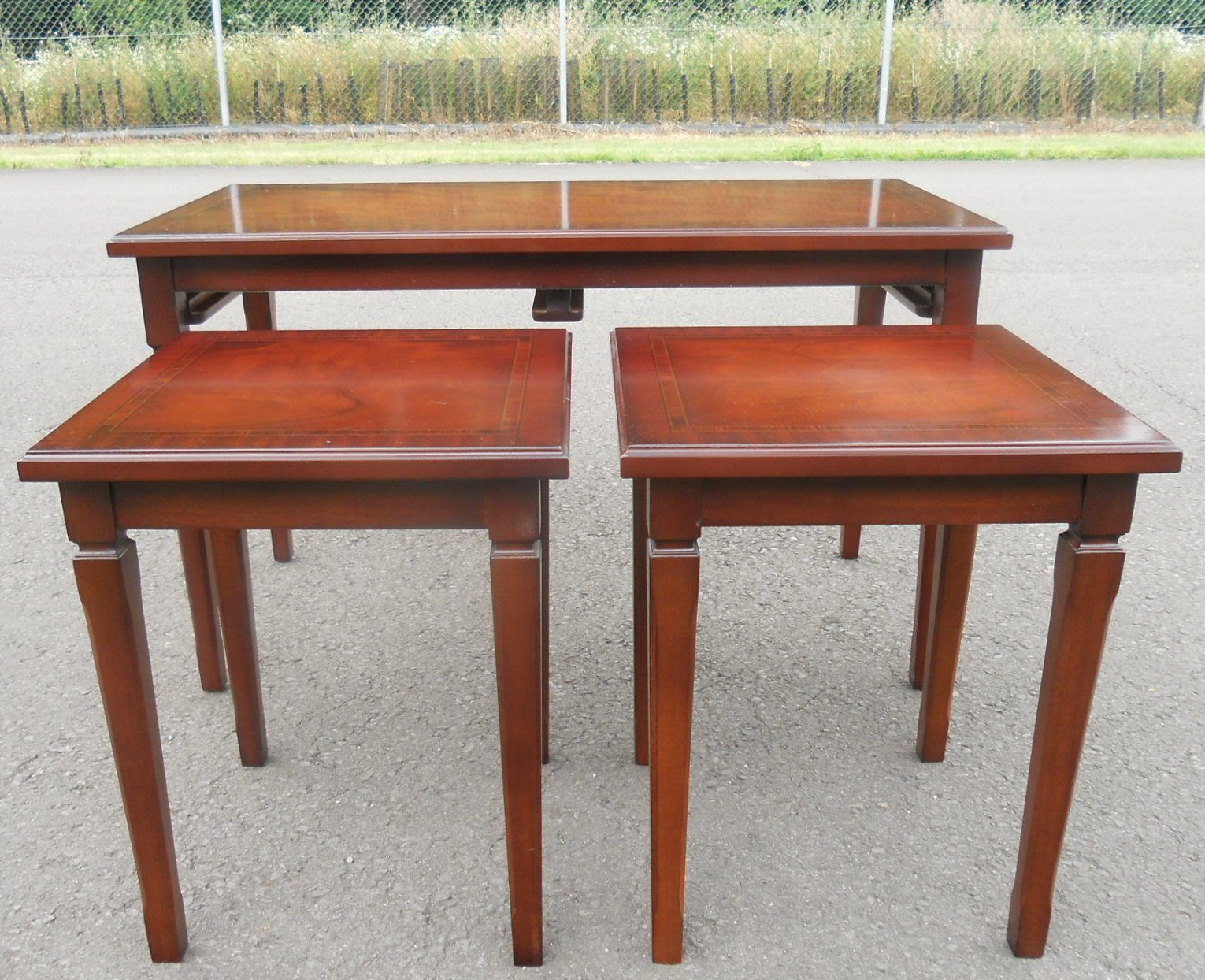 Sold Mahogany Cross Banded Top Nest Of Three Coffee Tables