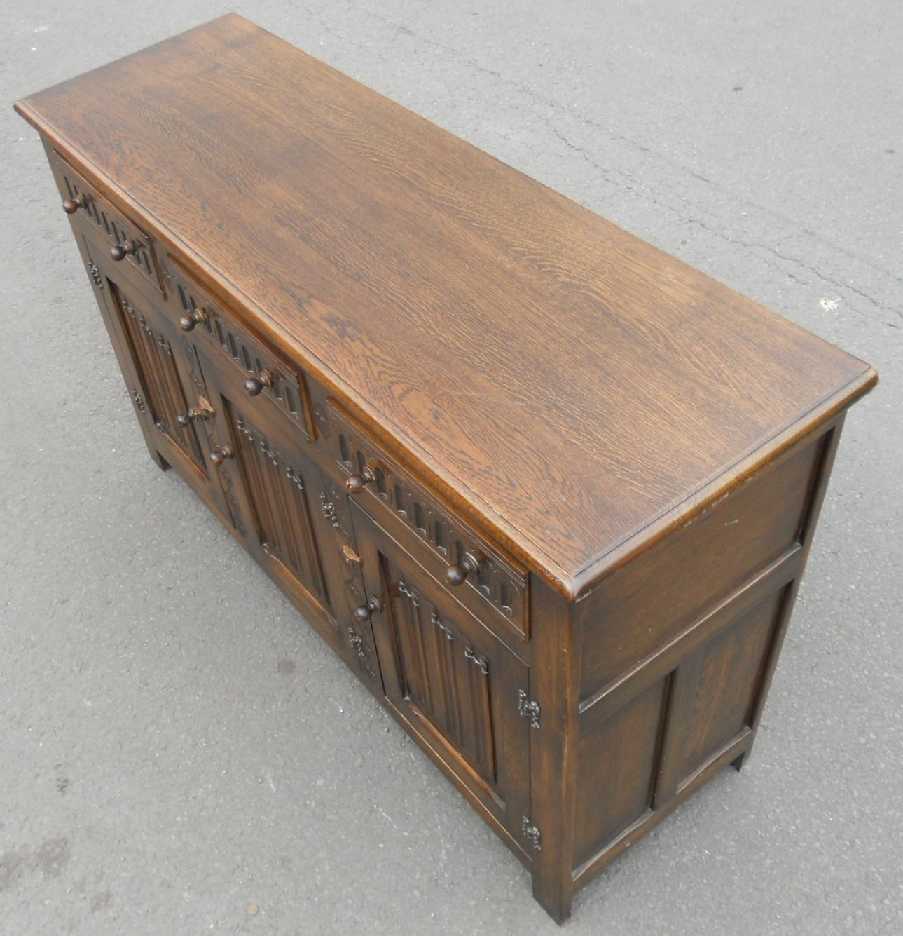 Sold oak jacobean style sideboard base by reprodux for Sideboard vintage look