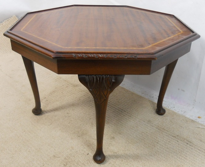 Sold octagonal inlaid mahogany coffee table for Octagon coffee table plans