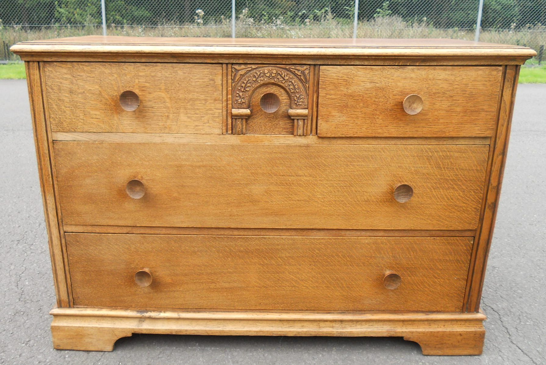 Sold Quality Oak Long Chest Of Drawers