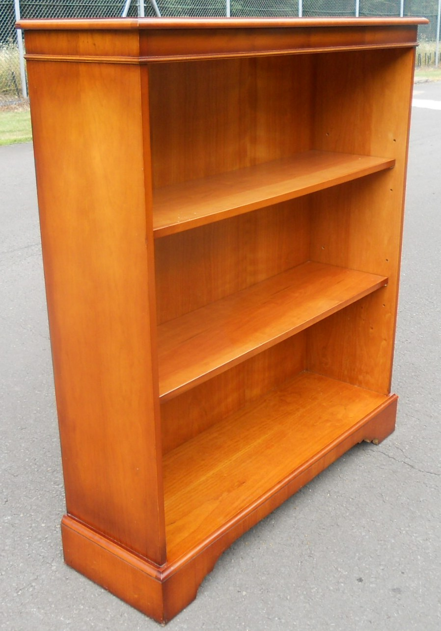 Sold Quality Yew Open Bookcase Cabinet By Bridgecraft