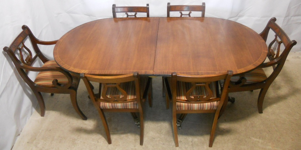 style mahogany extending dining table and matching chairs by rackstraw
