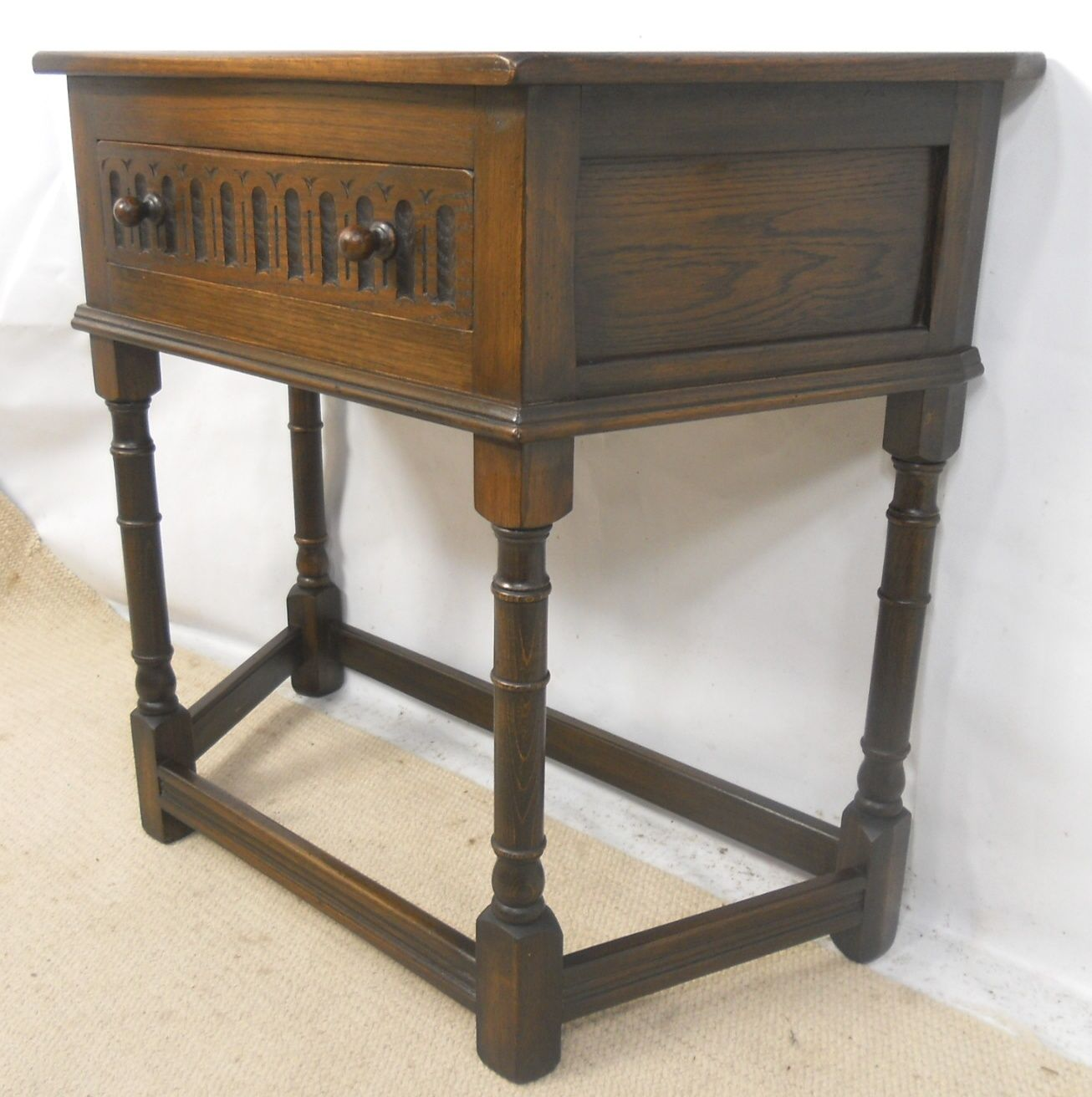 Reproduction Oak Side Table In Antique Style