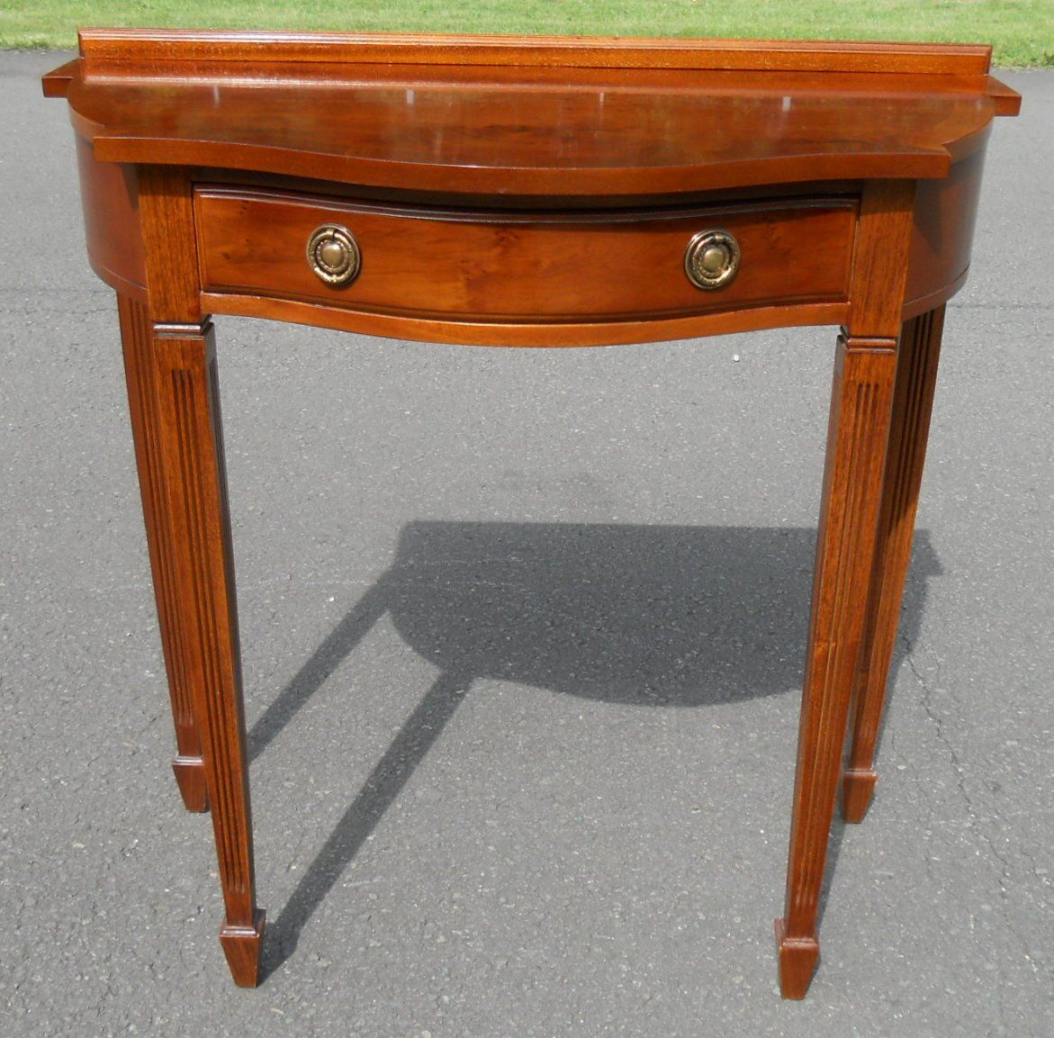 Sold serpentine front yew console table for Yew sofa table