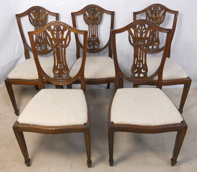 SOLD Set Of Five Carved Sheildback Mahogany Dining Chairs