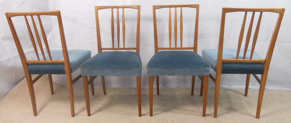 SOLD Set of Four 1960 s Retro Light Wood Dining Chairs by