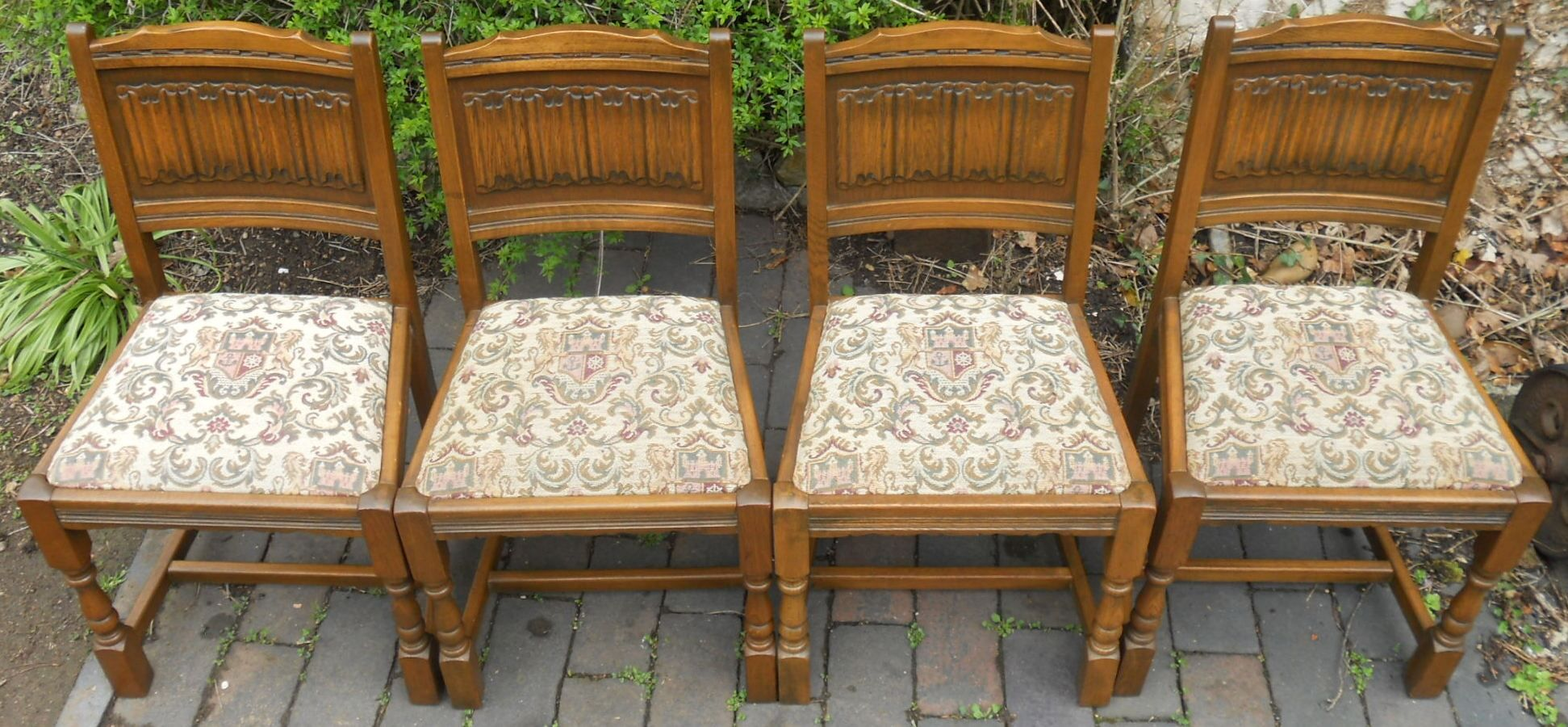 SOLD Set Of Four Oak Dining Chairs
