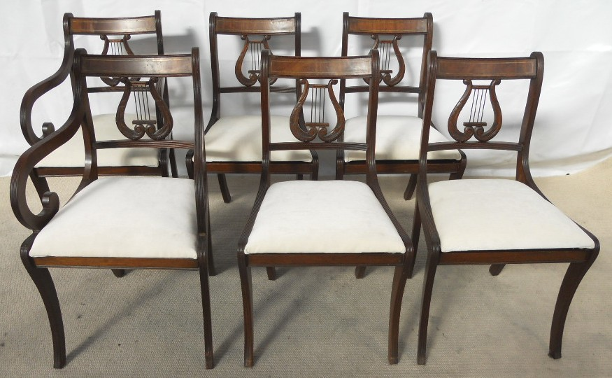 SOLD - Set Of Six Antique Regency Style Mahogany Harp Back Dining Chairs - Antique Harp Chair Antique Furniture