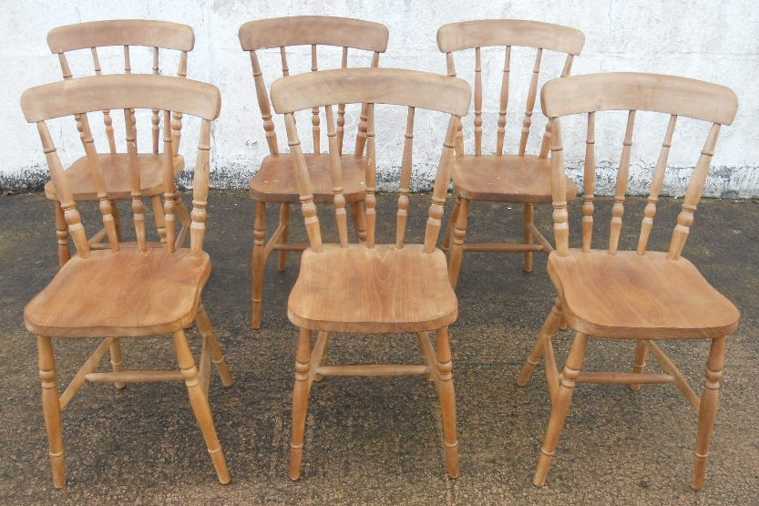 SOLD   Set Of Six Antique Victorian Style Beech Windsor Stickback Kitchen  Dining Chairs