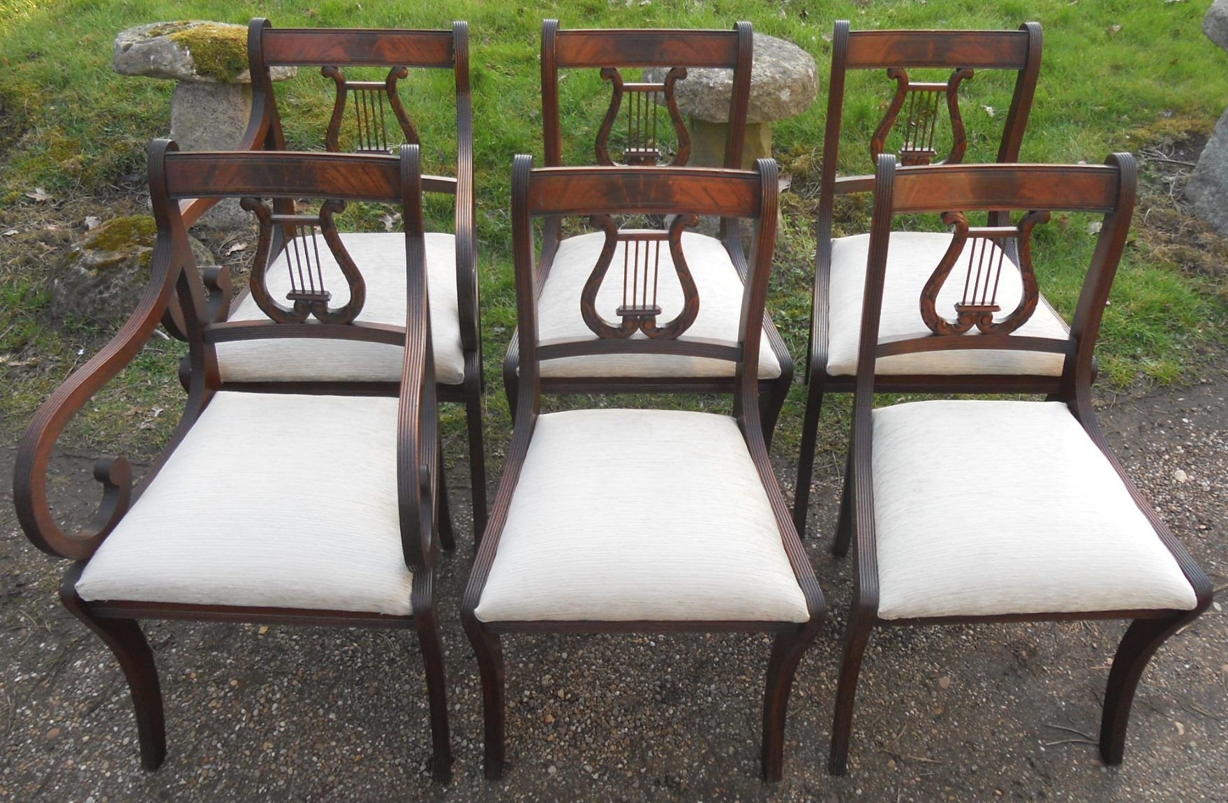 Sold Set Of Six Mahogany Lyre Back Dining Chairs