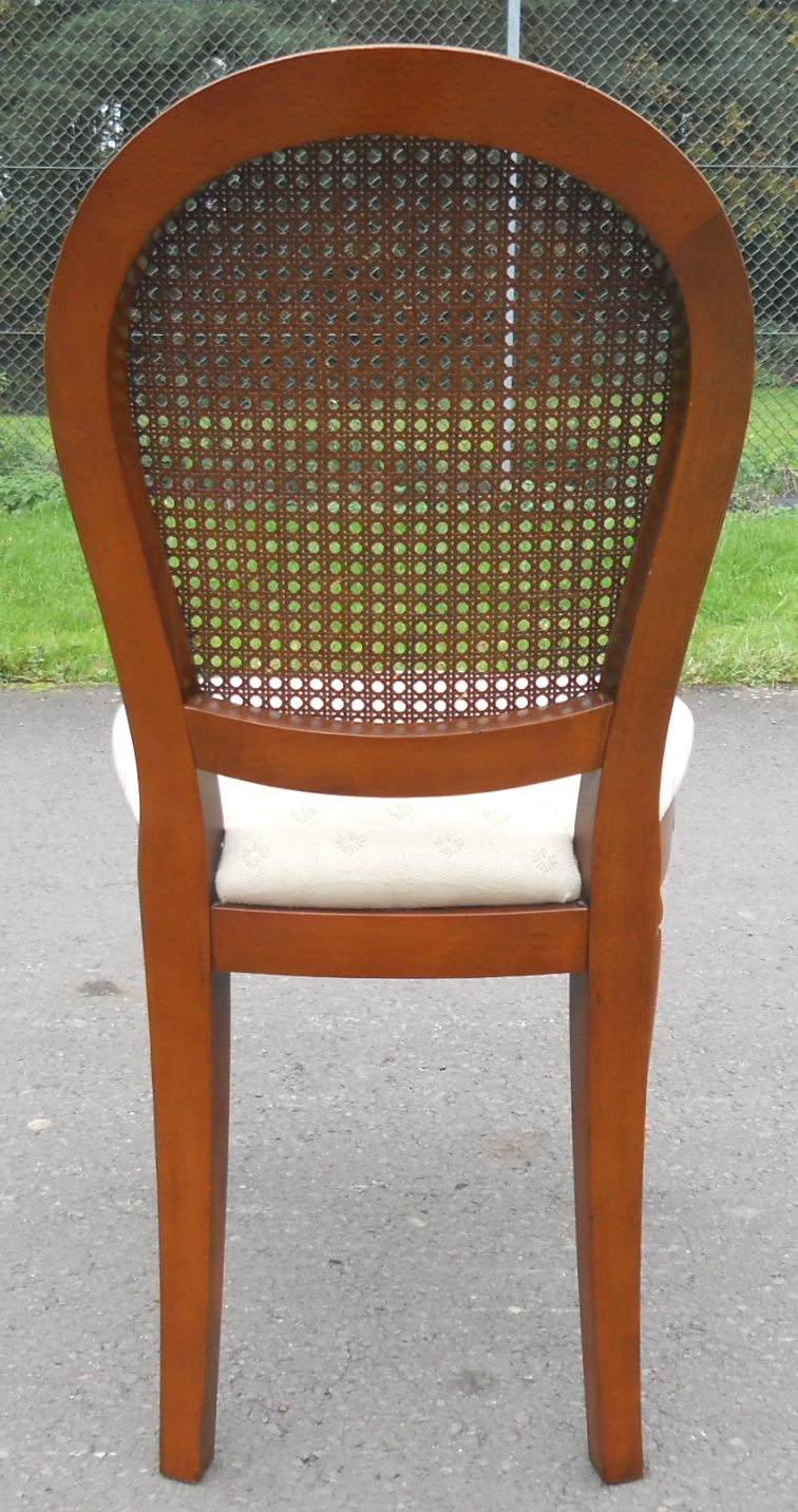 Sold set of six walnut oval back bergere dining chairs for Table bergere