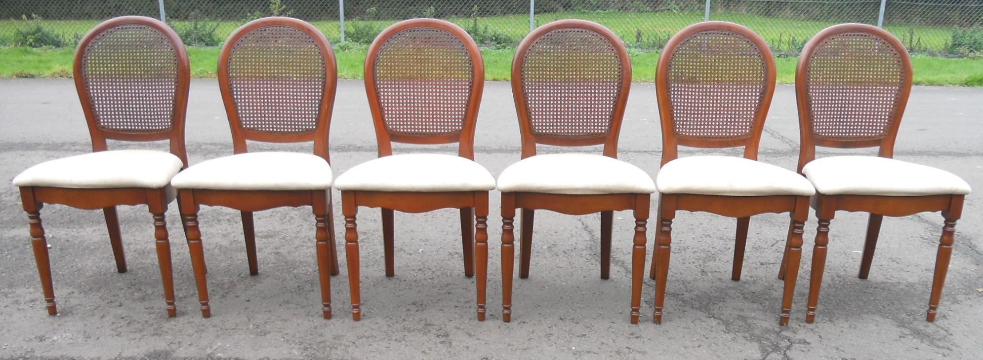 Sold set of six walnut oval back bergere dining chairs for White oval back dining chair