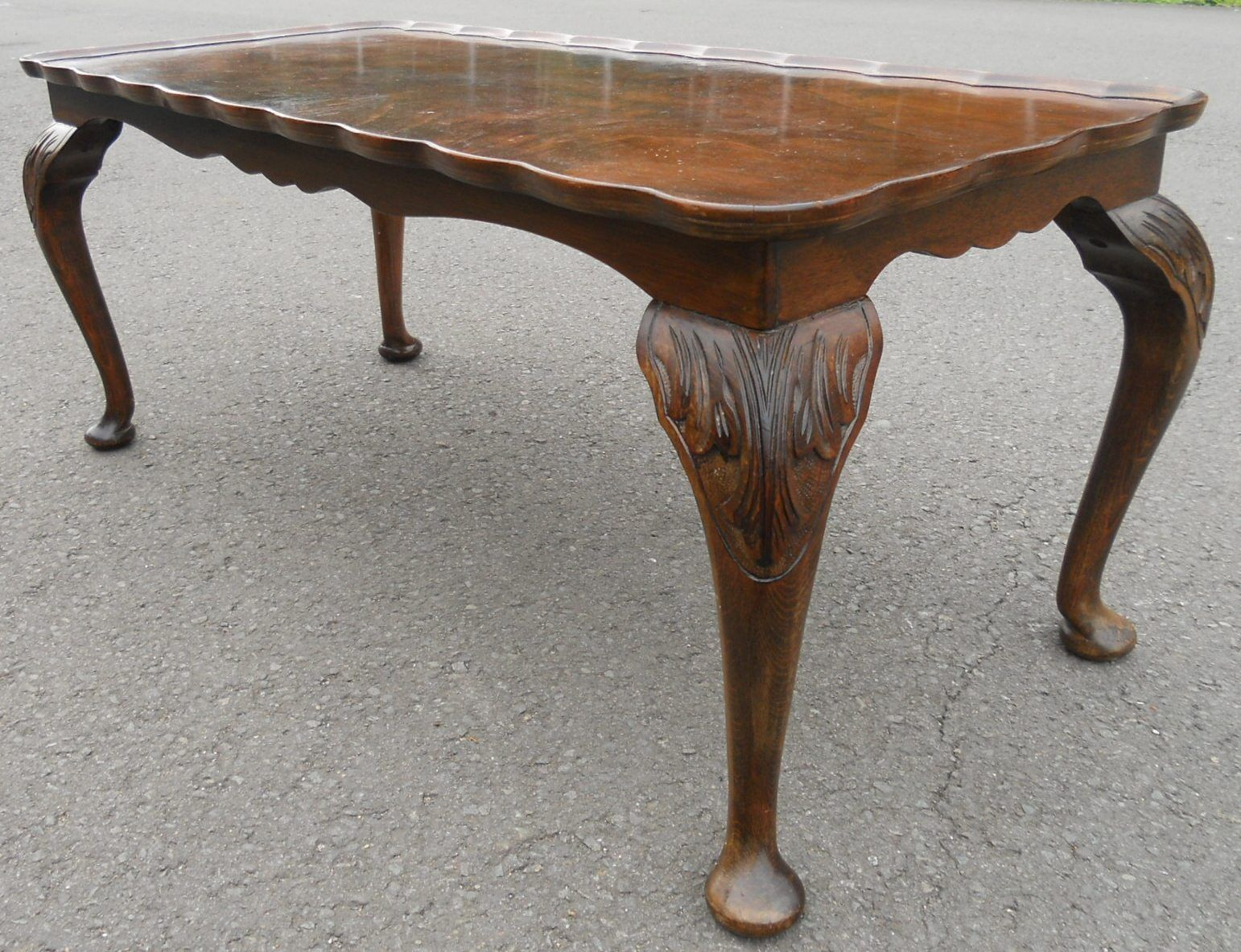 Sold Shaped Top Long Walnut Coffee Table