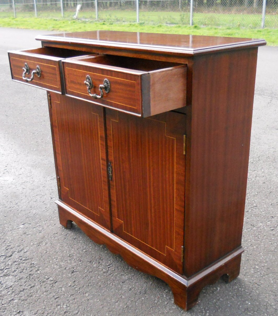 sold small inlaid mahogany sideboard cupboard base. Black Bedroom Furniture Sets. Home Design Ideas