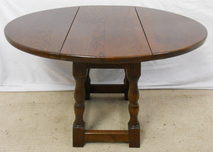Sold Solid Oak Oval Dropleaf Coffee Table