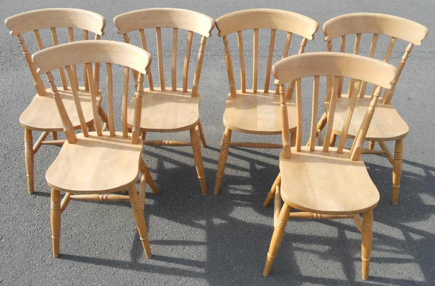 SOLD Victorian Style Pine Kitchen Table Six Chairs