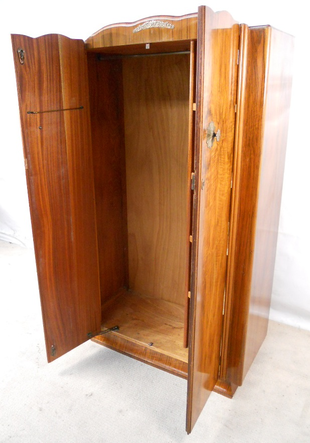 Sold Wardrobe Small Burr Walnut Two Door Hanging Clothes