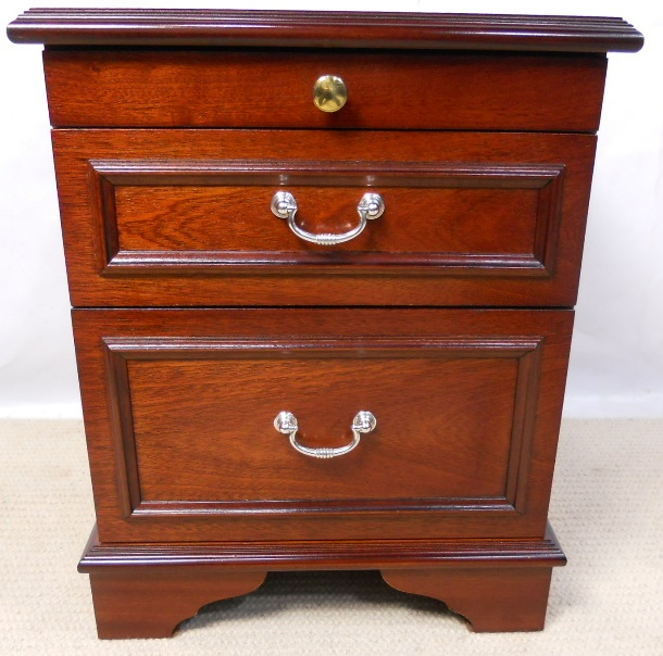 Stag mahogany bedside chest of drawers sold for Small bedside chest of drawers