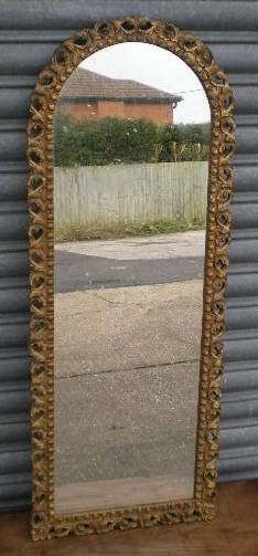 Tall Narrow Gilt Frame Hanging Wall Mirror Sold