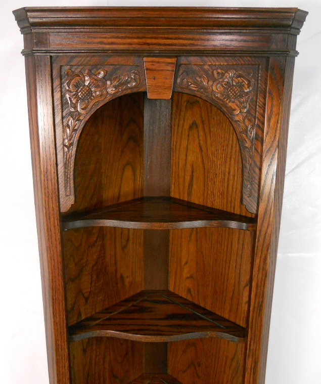 Tall Narrow Oak Corner Cabinet By Jaycee Sold