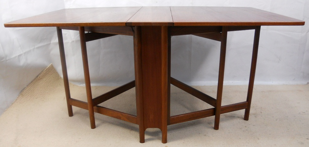 Teak narrow spacesaver dropleaf dining table to seat six sold for Dining table for narrow space