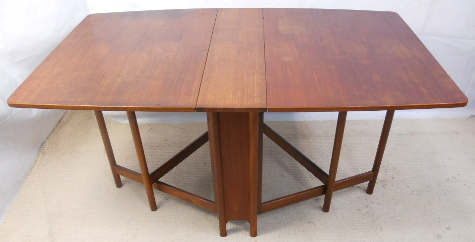Teak narrow spacesaver dropleaf dining table to seat six sold for Narrow dining table with leaves